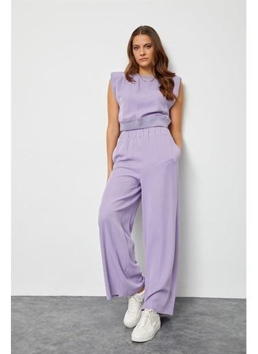 Setre Lila Tencel Yüksek Bel Pantolon Vatkalı Crop Top Takım Lila